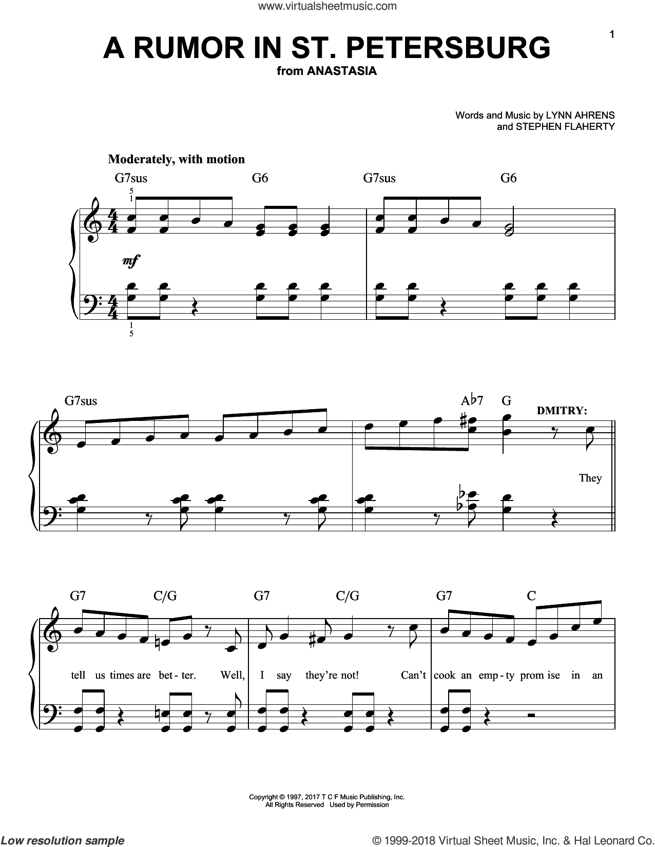 A Rumor In St. Petersburg sheet music for piano solo by Stephen Flaherty and Lynn Ahrens, easy skill level