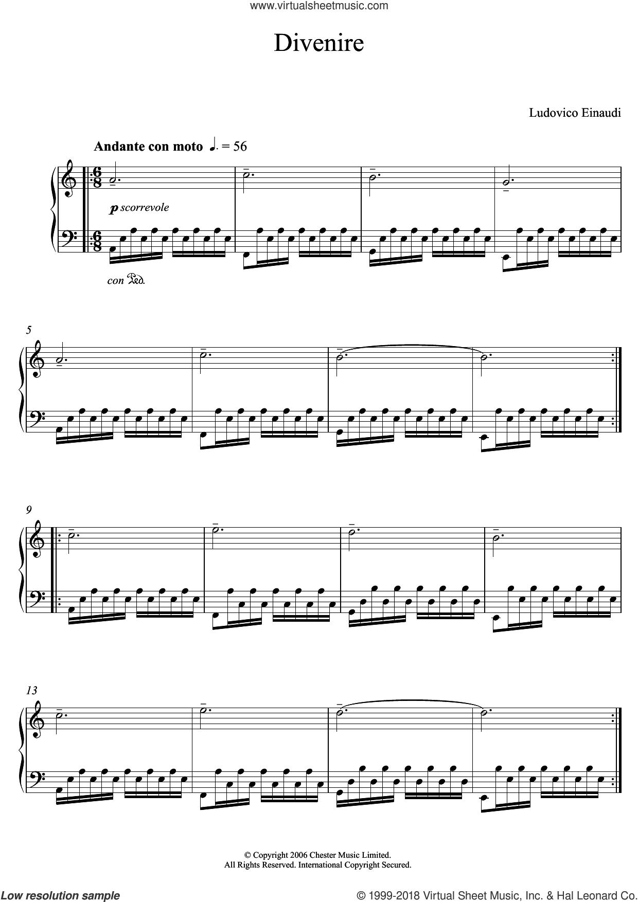 Divenire sheet music for piano solo (elementary) by Ludovico Einaudi, classical score, beginner piano (elementary)