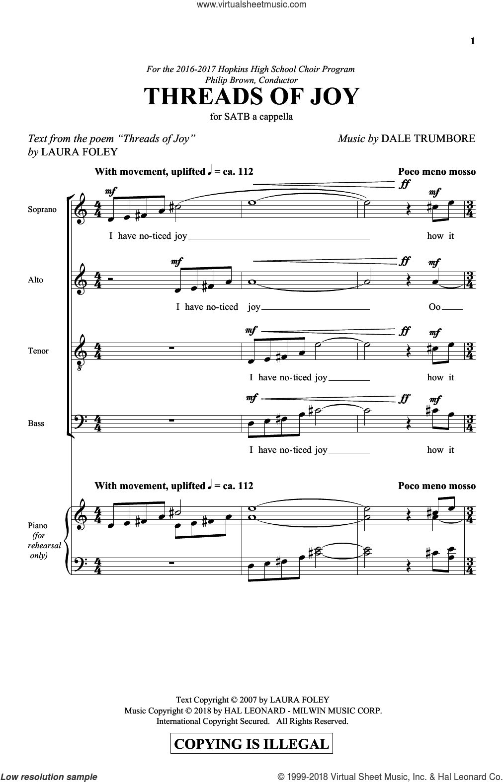 Threads Of Joy sheet music for choir (SATB: soprano, alto, tenor, bass) by Dale Trumbore and Laura Foley, intermediate skill level