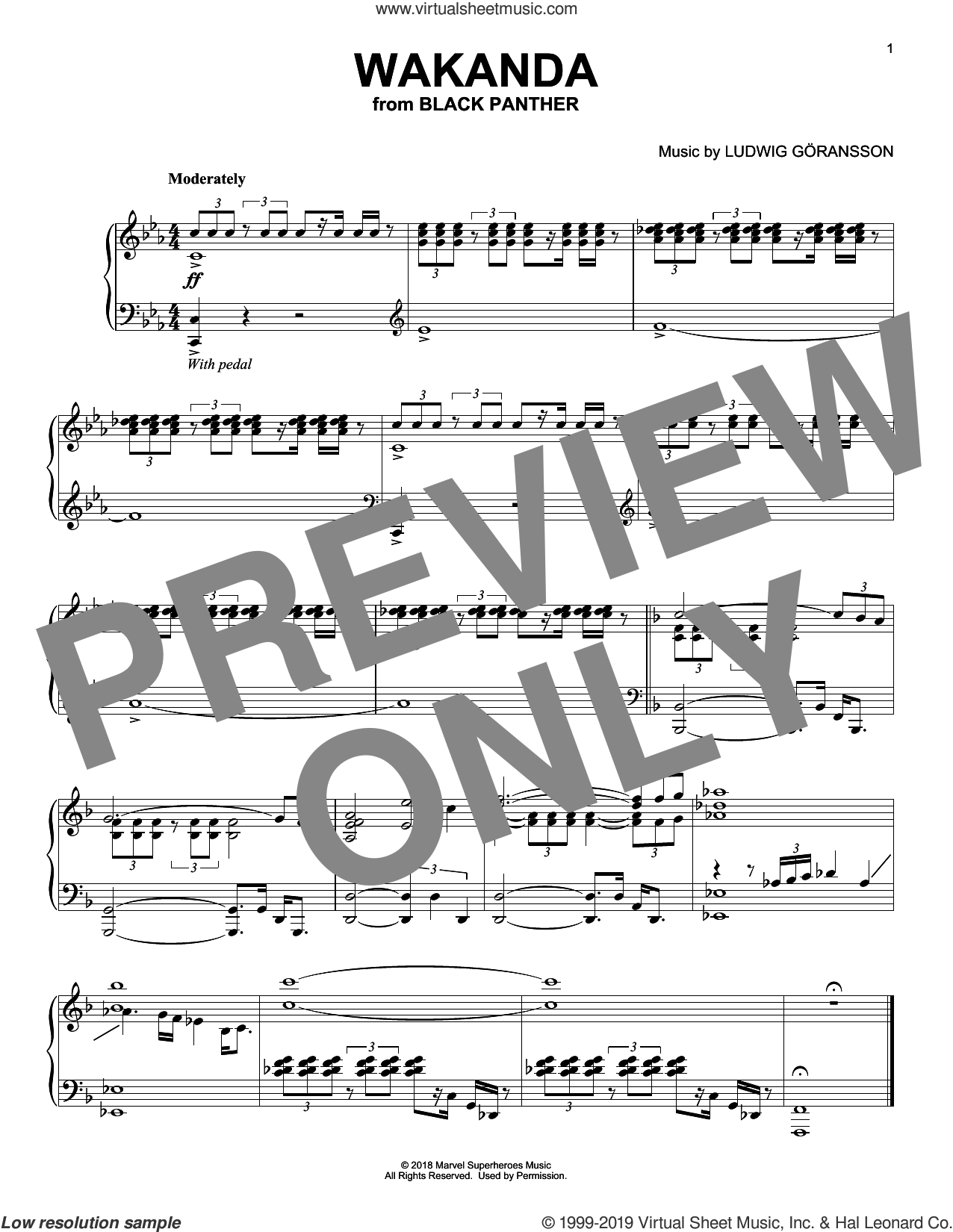 Wakanda (from Black Panther) sheet music for piano solo by Ludwig Goransson, intermediate skill level