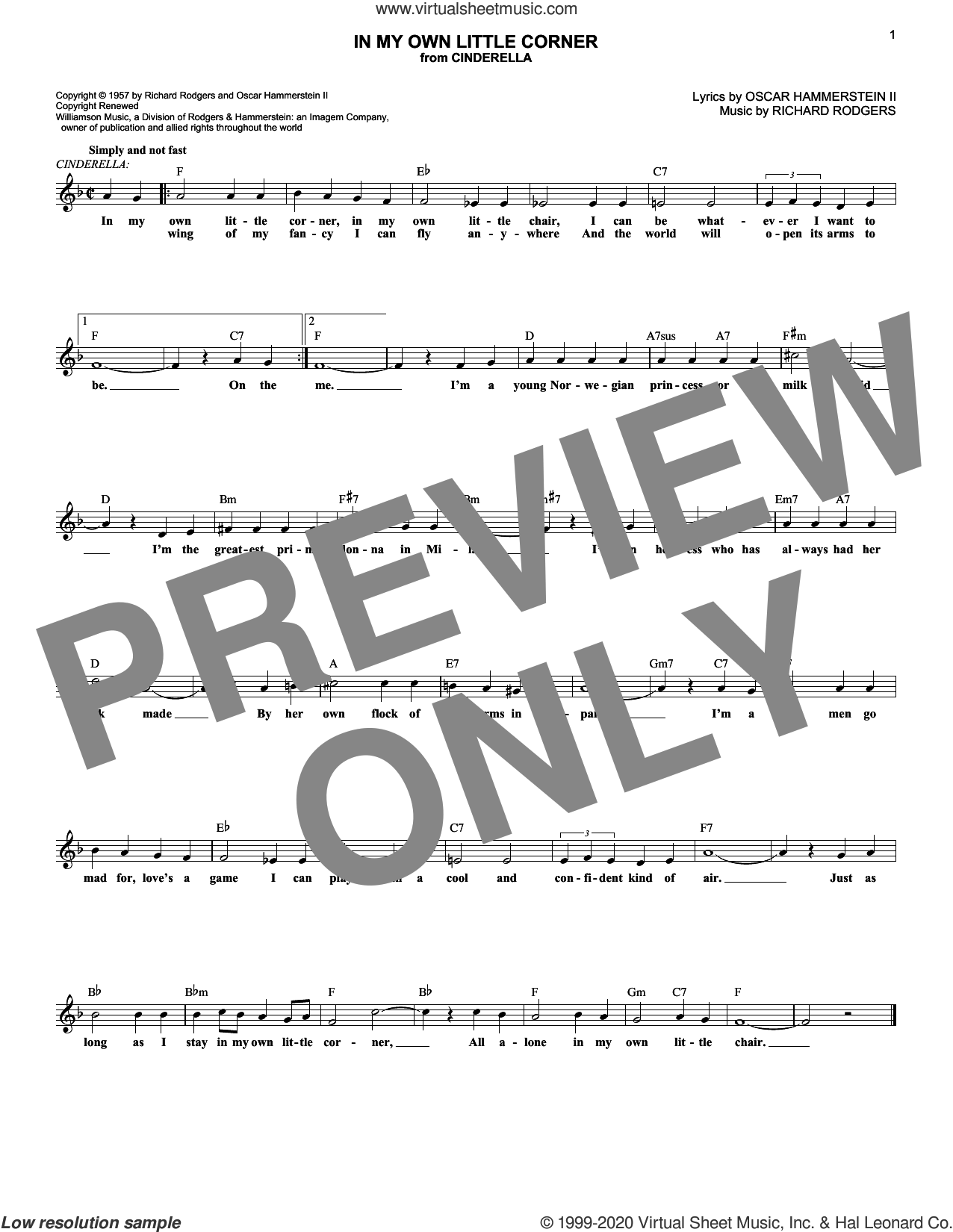 In My Own Little Corner (from Cinderella the Musical) sheet music for voice and other instruments (fake book) by Rodgers & Hammerstein, Oscar II Hammerstein and Richard Rodgers, intermediate skill level