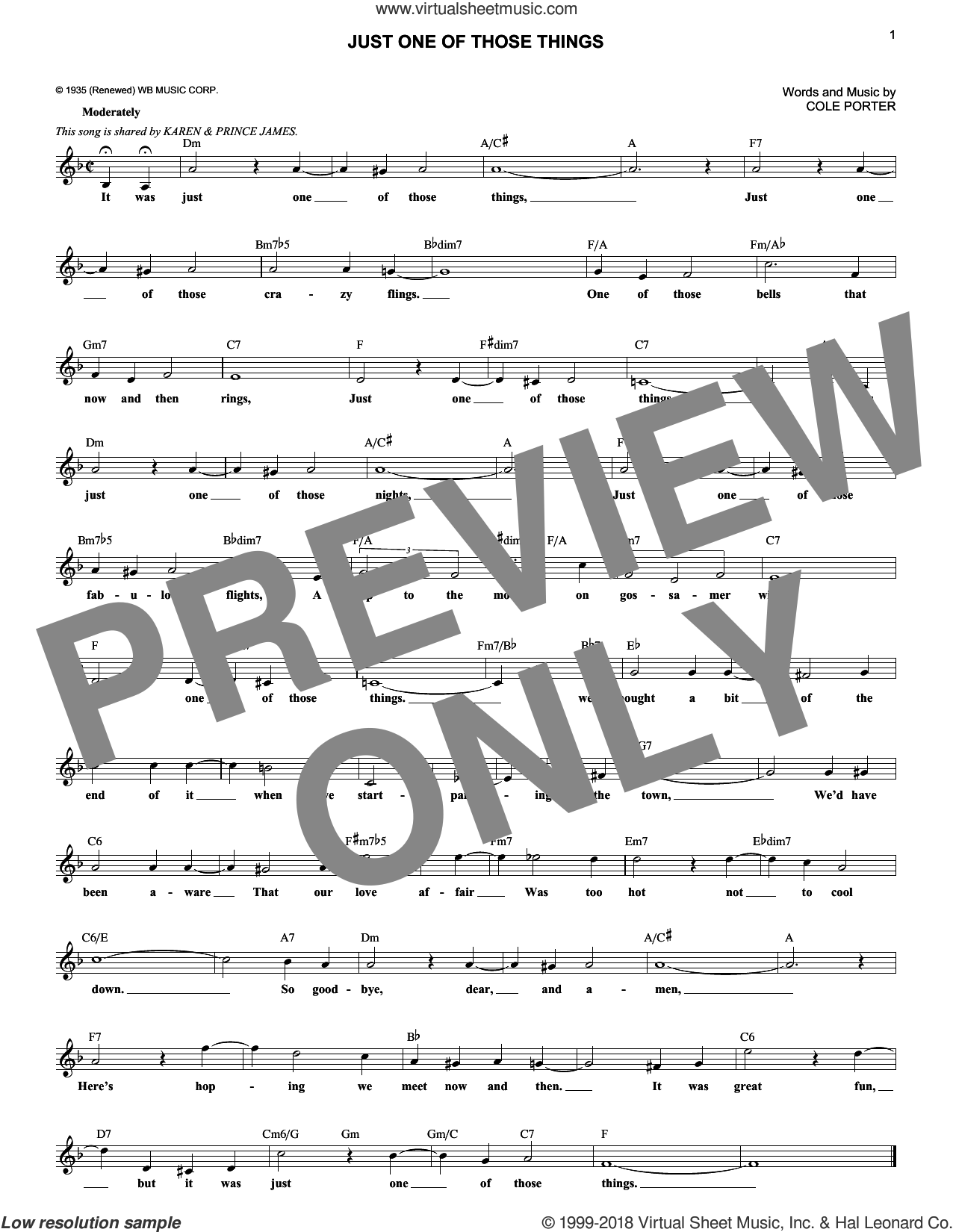 Just One Of Those Things sheet music for voice and other instruments (fake book) by Cole Porter, intermediate skill level
