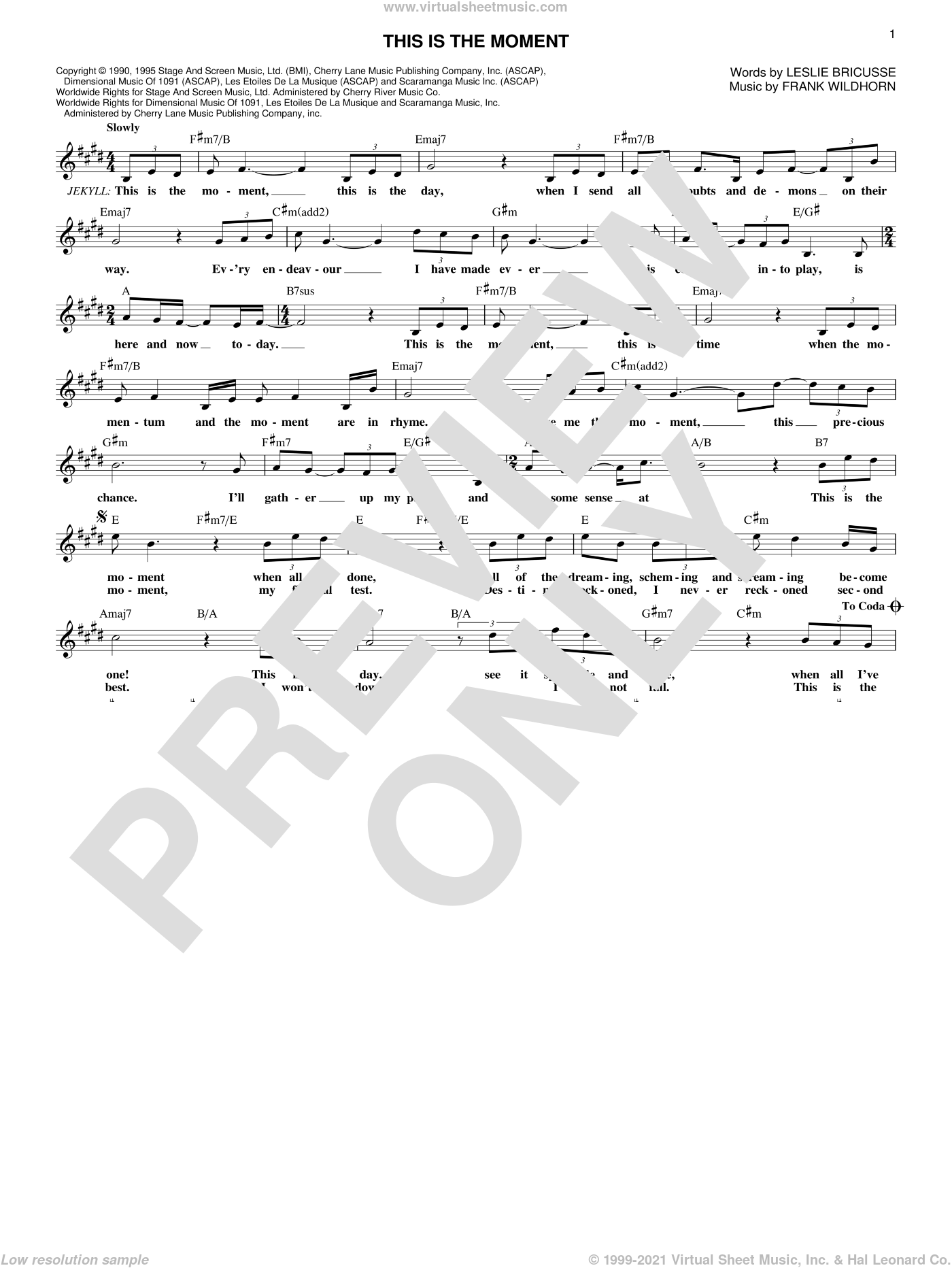 This Is The Moment sheet music for voice and other instruments (fake book) by Leslie Bricusse and Frank Wildhorn, intermediate skill level