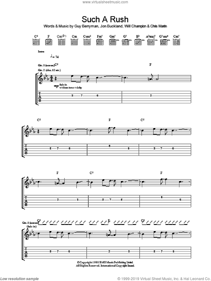 Such A Rush sheet music for guitar (tablature) by Coldplay, Chris Martin, Guy Berryman, Jon Buckland and Will Champion, intermediate