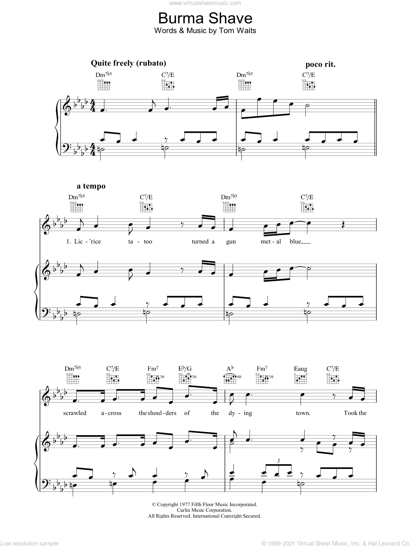 Burma Shave sheet music for voice, piano or guitar by Tom Waits, intermediate voice, piano or guitar. Score Image Preview.