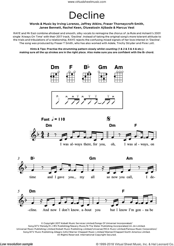 Decline sheet music for ukulele by Jeffrey Atkins, Don Raye, Mr Eazi, Fraser Thorneycroft-Smith, Irving Lorenzo, Janee Bennett, Marcus Vest, Oluwatosin Ajibade and Rachel Keen, intermediate skill level
