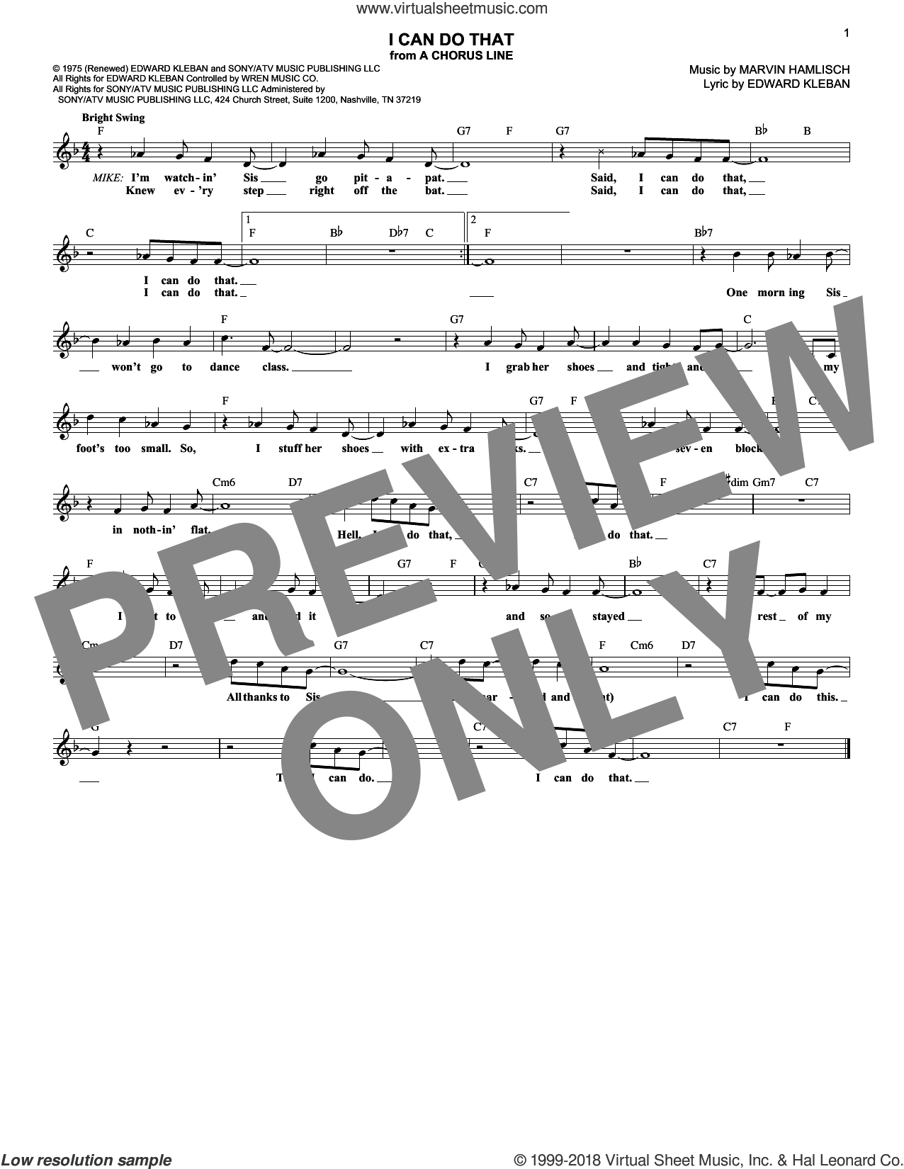 I Can Do That sheet music for voice and other instruments (fake book) by Marvin Hamlisch and Edward Kleban, intermediate skill level