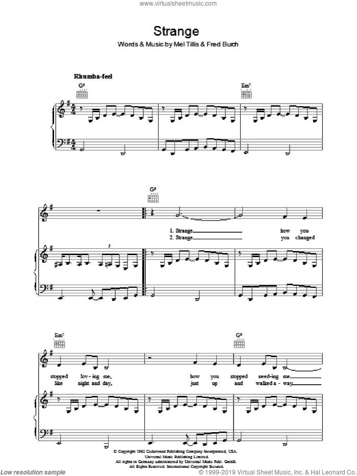 Strange sheet music for voice, piano or guitar by Fred B. Burch