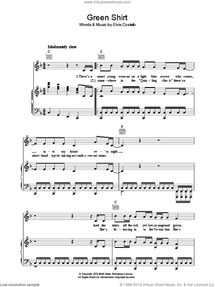 Green Shirt sheet music for voice, piano or guitar by Declan Macmanus