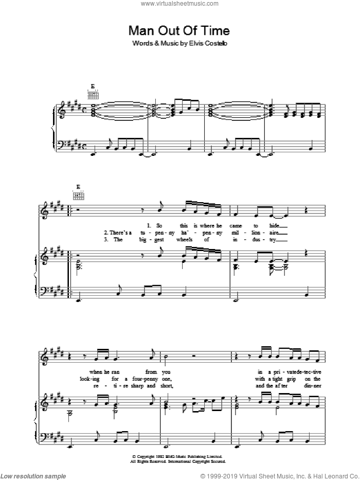 Man Out Of Time sheet music for voice, piano or guitar by Declan Macmanus