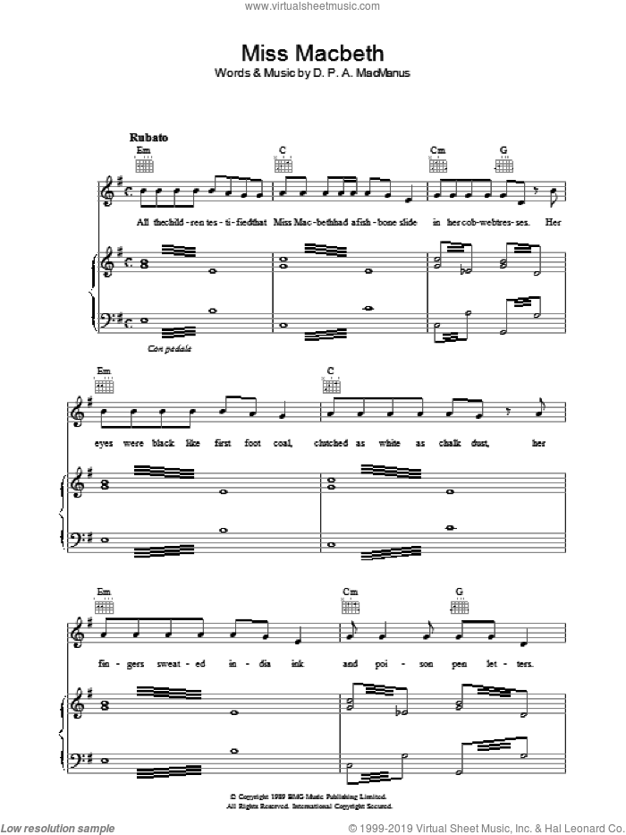Miss Macbeth sheet music for voice, piano or guitar by Declan Macmanus and Elvis Costello. Score Image Preview.