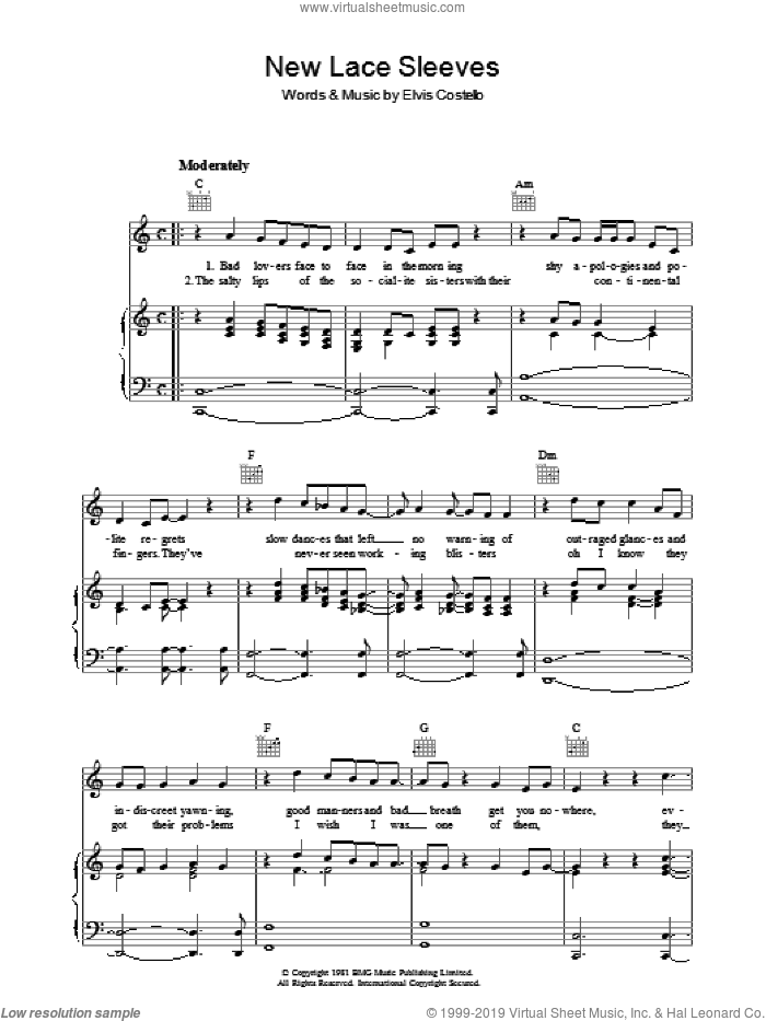 New Lace Sleeves sheet music for voice, piano or guitar by Elvis Costello, intermediate voice, piano or guitar. Score Image Preview.
