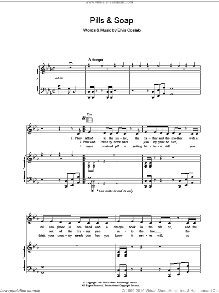 Pills And Soap sheet music for voice, piano or guitar by Declan Macmanus and Elvis Costello