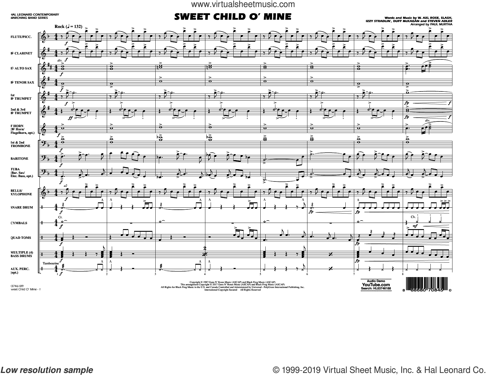 Sweet Child o' Mine (COMPLETE) sheet music for marching band by Paul Murtha, Axl Rose, Duff McKagan, Slash and Steven Adler, intermediate skill level