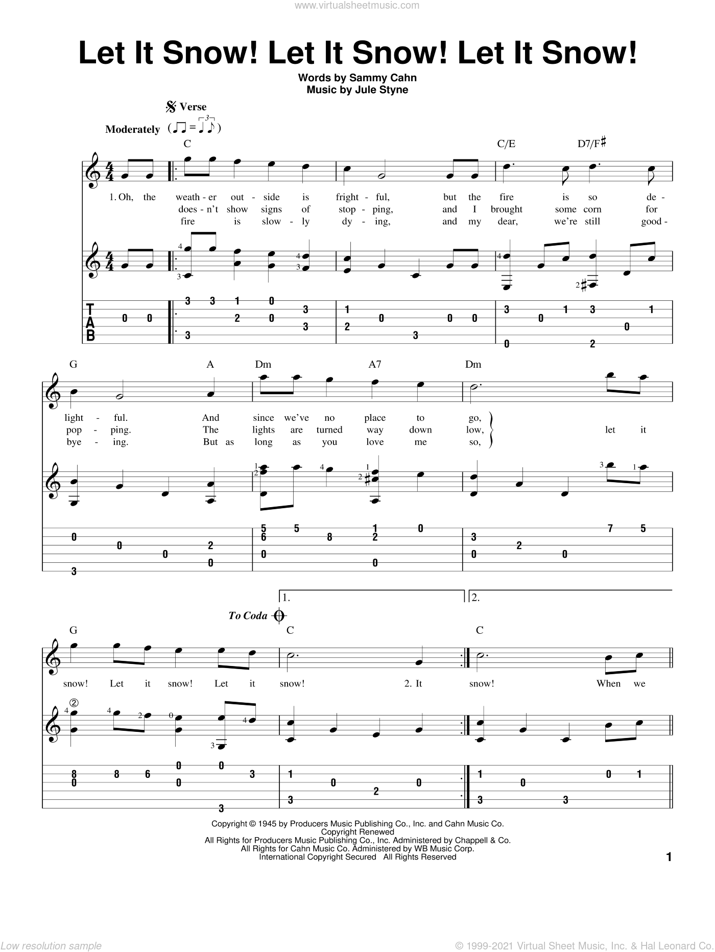 Let It Snow! Let It Snow! Let It Snow! sheet music for guitar solo (easy tablature) by Jule Styne and Sammy Cahn. Score Image Preview.