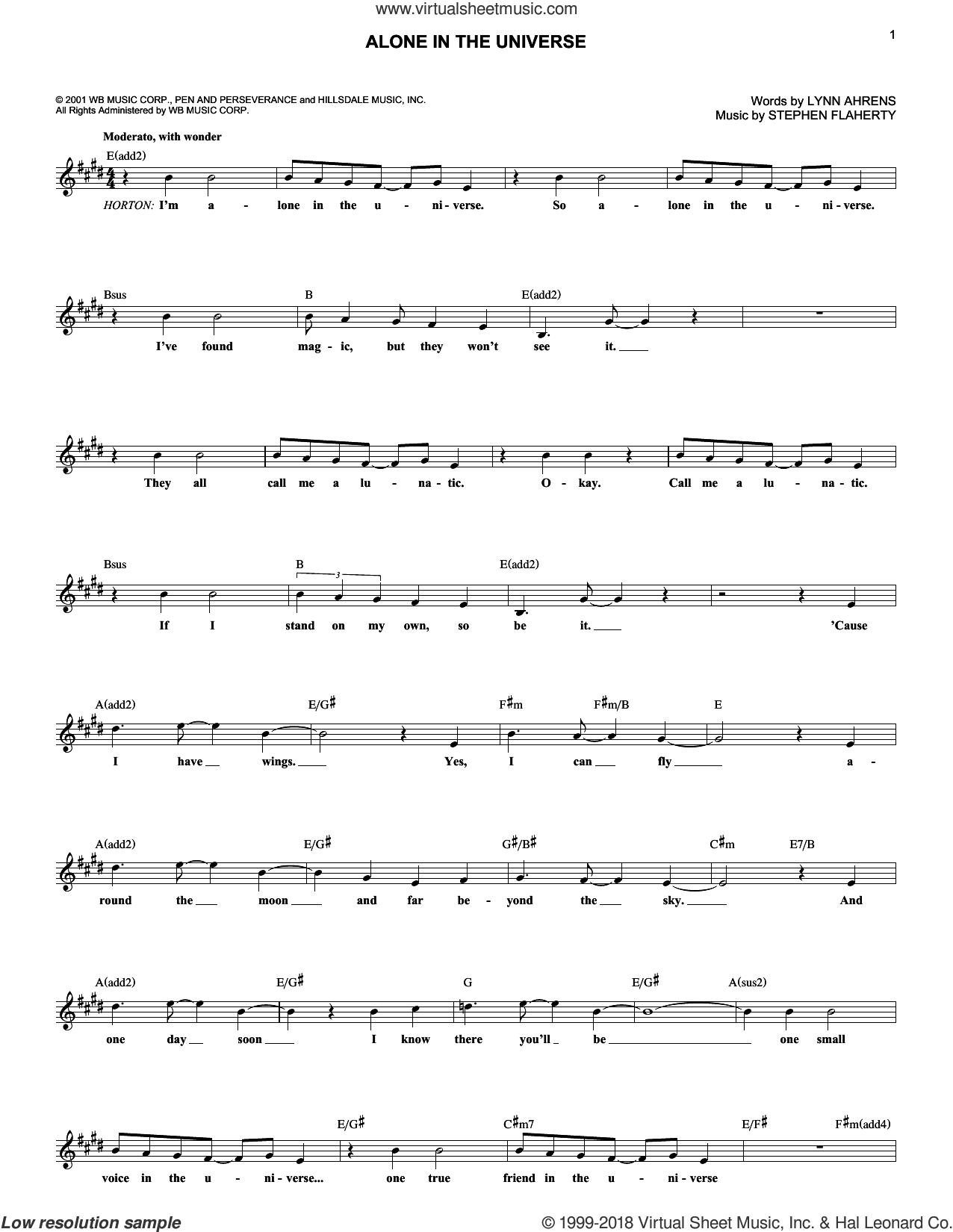 Alone In The Universe sheet music for voice and other instruments (fake book) by Stephen Flaherty and Lynn Ahrens, intermediate skill level