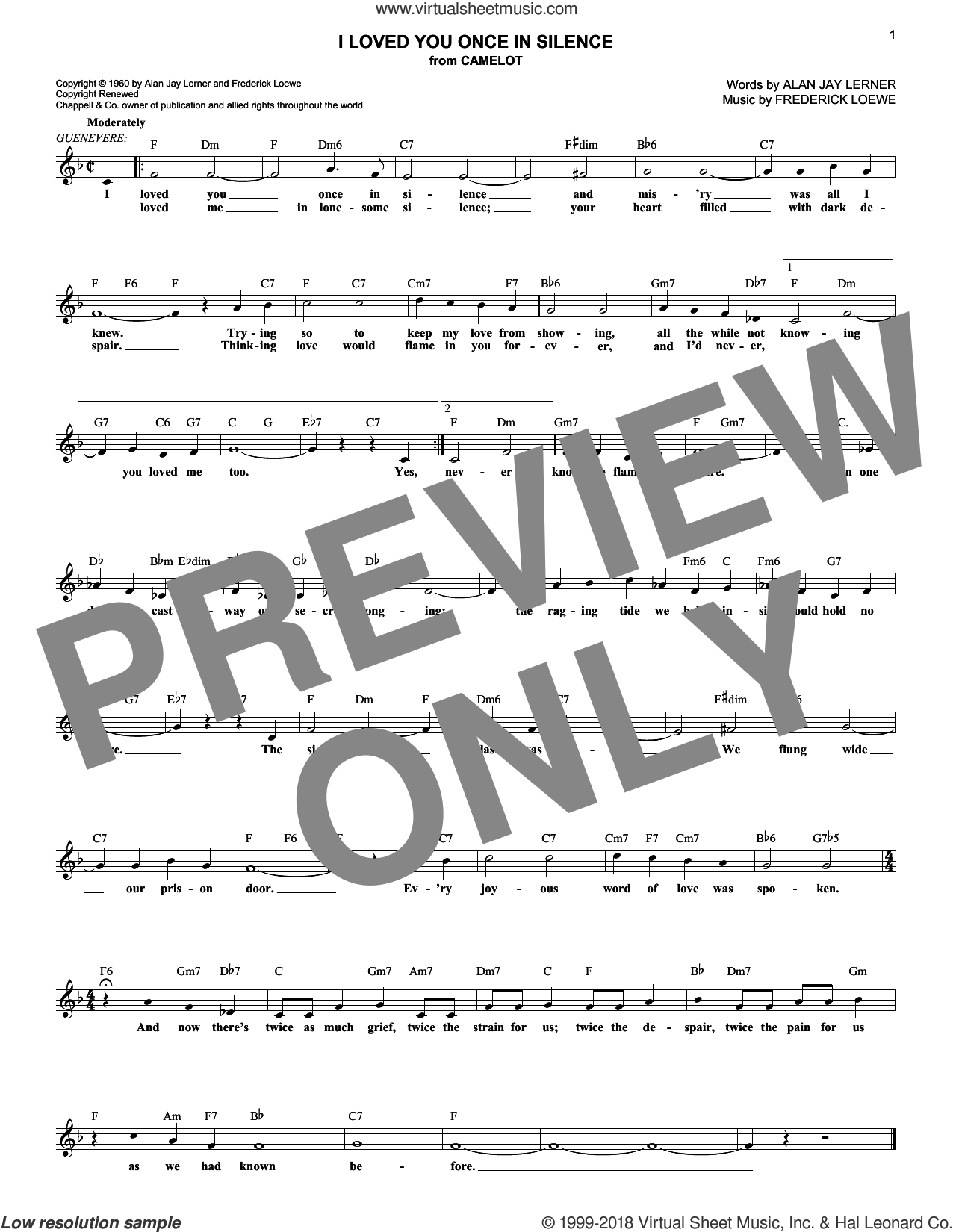 I Loved You Once In Silence sheet music for voice and other instruments (fake book) by Alan Jay Lerner and Frederick Loewe, intermediate skill level