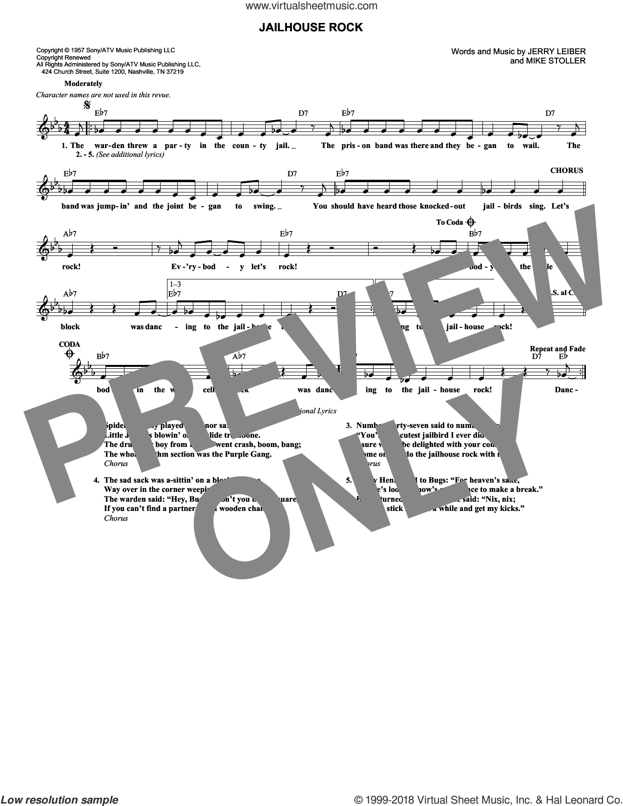 Jailhouse Rock sheet music for voice and other instruments (fake book) by Mike Stoller, Elvis Presley and Jerry Leiber, intermediate skill level