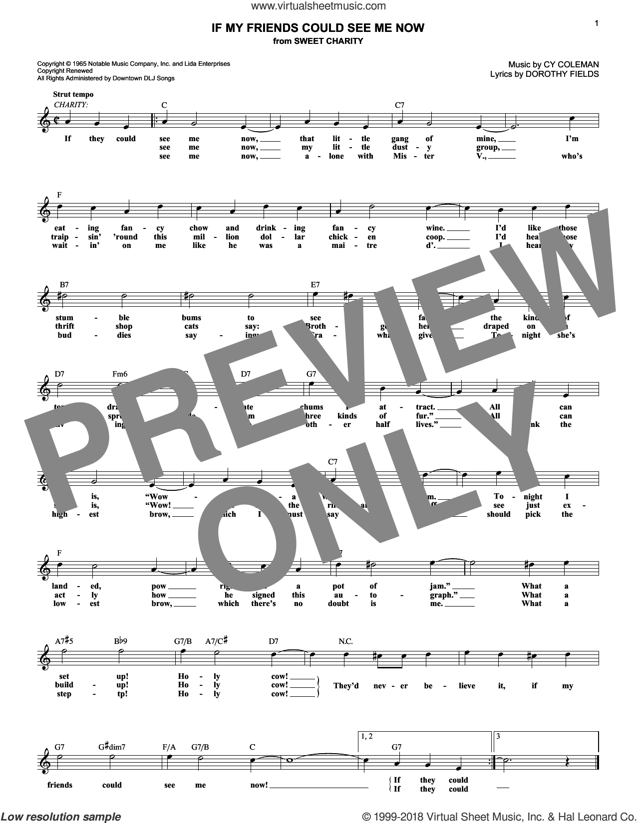 If My Friends Could See Me Now sheet music for voice and other instruments (fake book) by Dorothy Fields and Cy Coleman, intermediate skill level