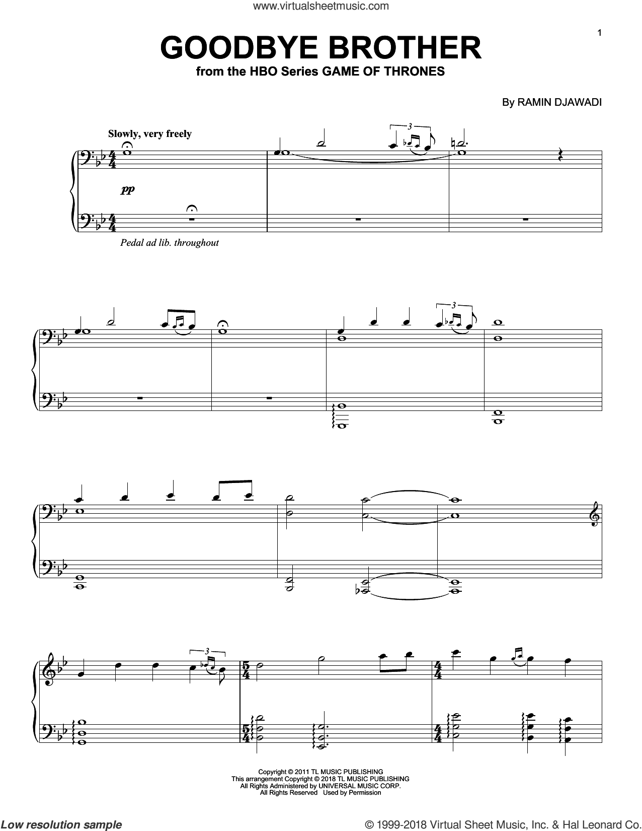 Goodbye Brother (from Game of Thrones) sheet music for piano solo by Ramin Djawadi, intermediate skill level