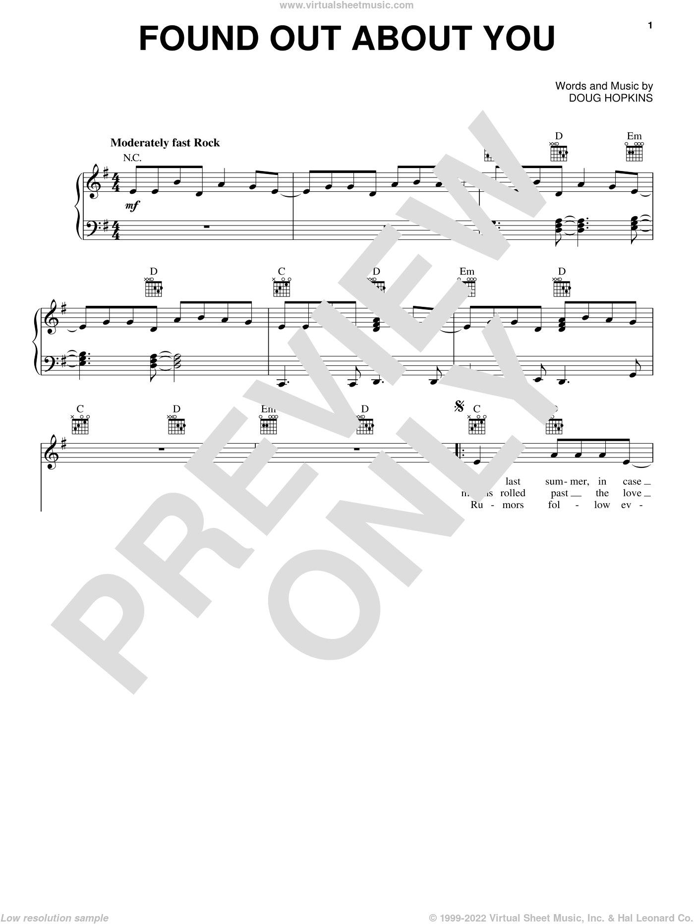Found Out About You sheet music for voice, piano or guitar by Gin Blossoms and Doug Hopkins, intermediate skill level