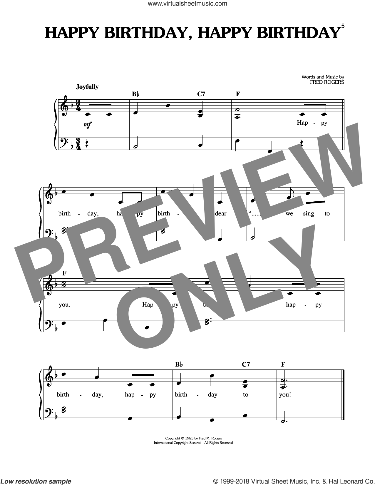 Happy Birthday, Happy Birthday sheet music for piano solo by Fred Rogers and Mister Rogers, easy skill level
