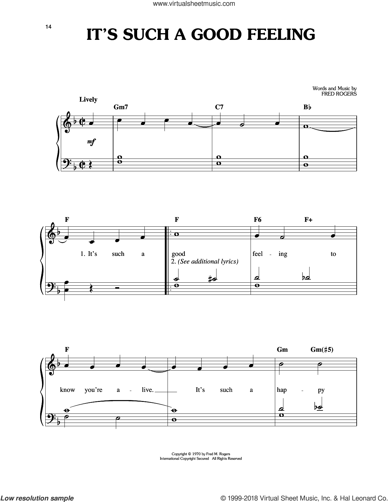 It's Such A Good Feeling sheet music for piano solo by Fred Rogers and Mister Rogers, easy skill level
