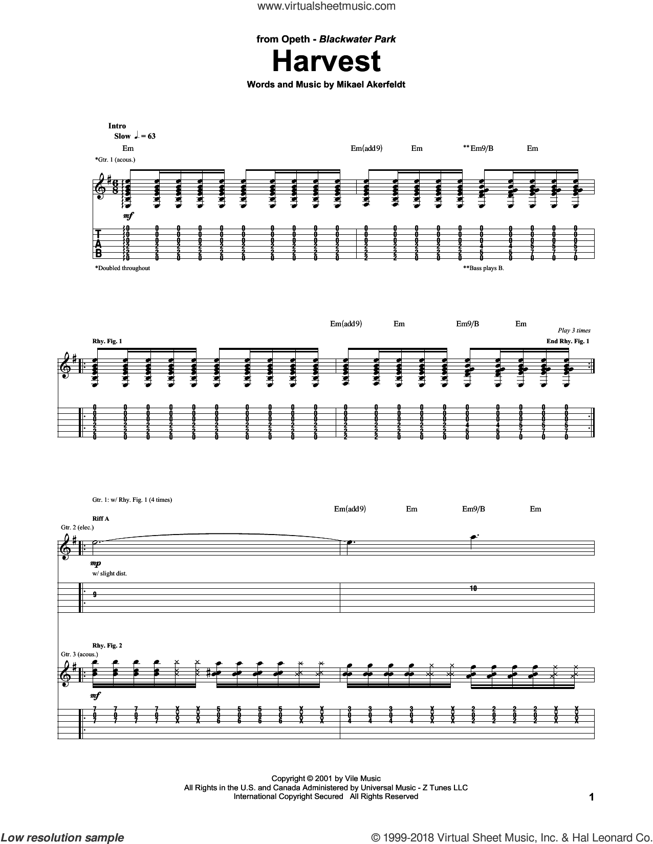 Harvest sheet music for guitar (tablature) by Opeth and Mikael Akerfeldt, intermediate skill level
