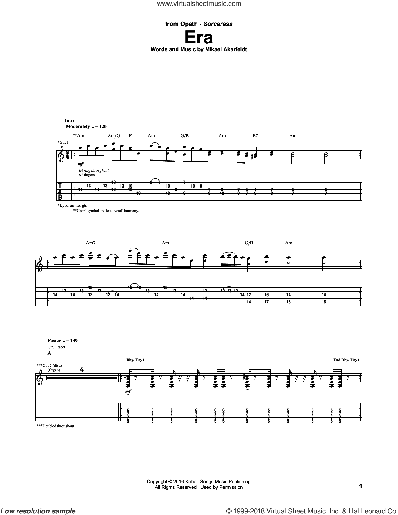 Era sheet music for guitar (tablature) by Opeth and Mikael Akerfedlt, intermediate skill level