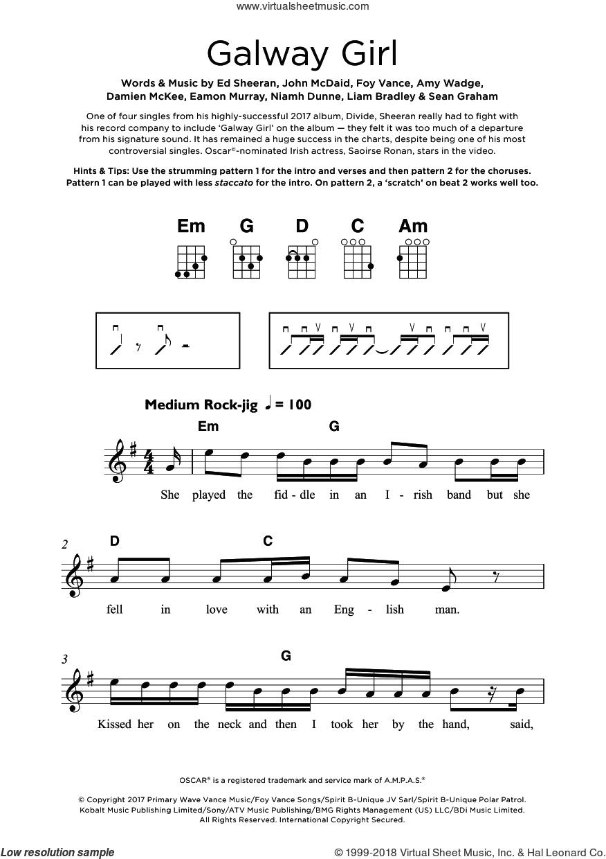 Galway Girl sheet music for ukulele by Ed Sheeran, Amy Wadge, Damien McKee, Eamon Murray, Foy Vance, John McDaid, Liam Bradley, Niamh Dunne and Sean Graham, intermediate skill level