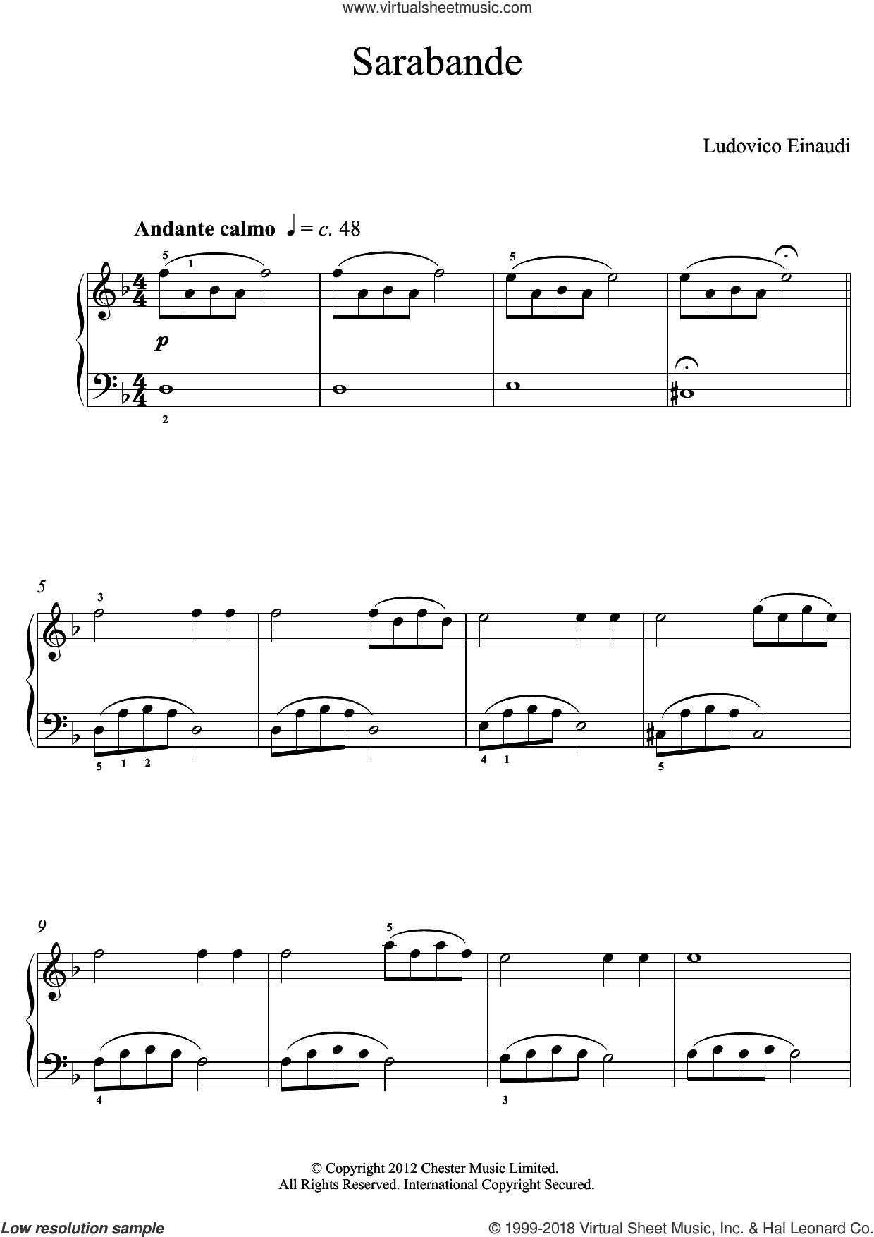 Sarabande sheet music for piano solo (elementary) by Ludovico Einaudi, classical score, beginner piano (elementary)