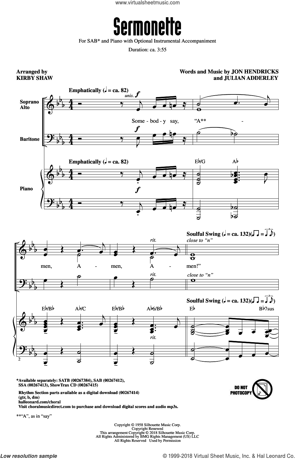 Sermonette sheet music for choir (SAB: soprano, alto, bass) by Jon Hendricks, Kirby Shaw, Lambert, Hendricks & Ross and Julian Adderley, intermediate skill level