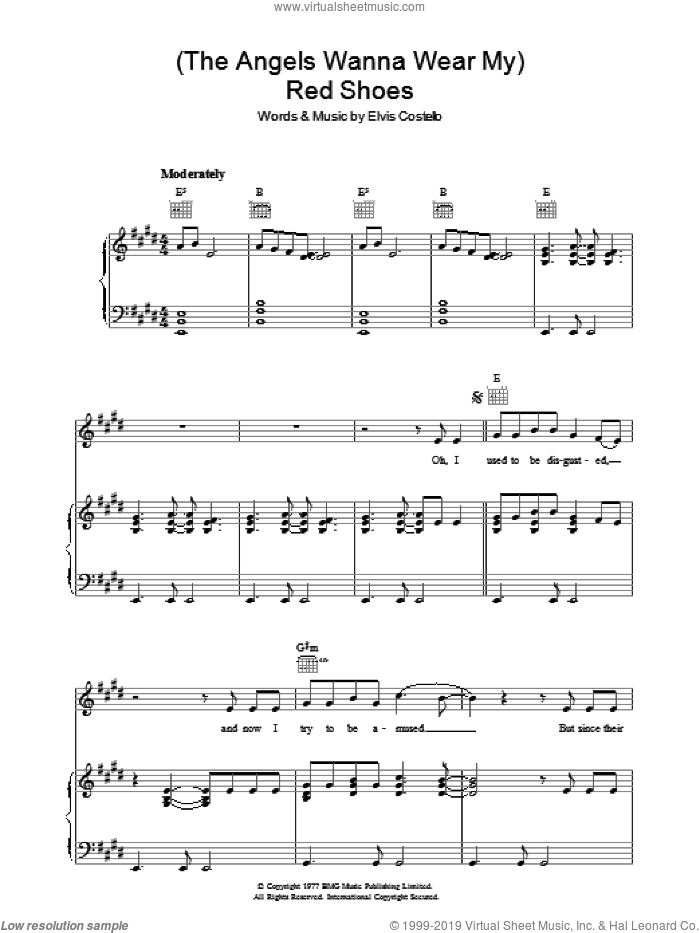 (The Angels Wanna Wear My) Red Shoes sheet music for voice, piano or guitar by Elvis Costello and Declan Macmanus, intermediate skill level
