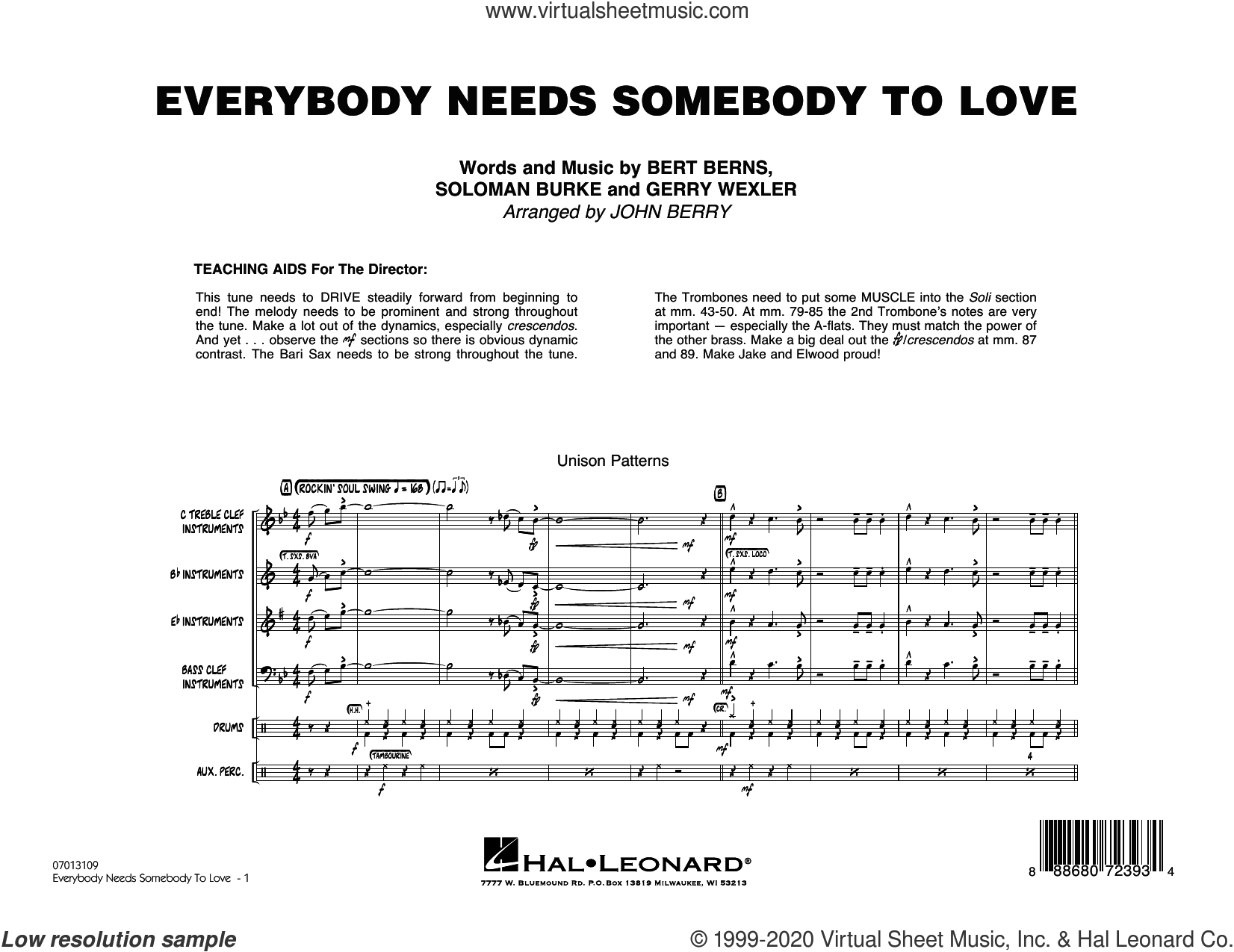 Everybody Needs Somebody to Love (COMPLETE) sheet music for jazz band by John Berry, Bert Berns, Gerry Wexler, Soloman Burke, The Blues Brothers and Wilson Pickett, intermediate skill level