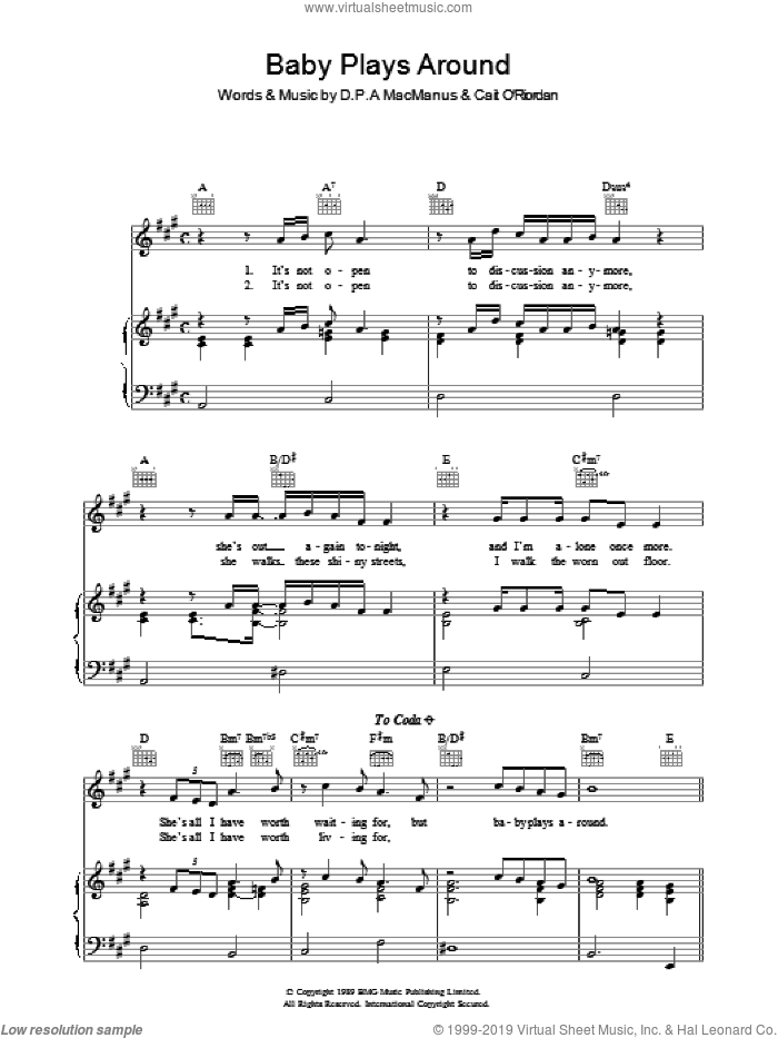 Baby Plays Around sheet music for voice, piano or guitar by Cait O'Riordan and Elvis Costello. Score Image Preview.
