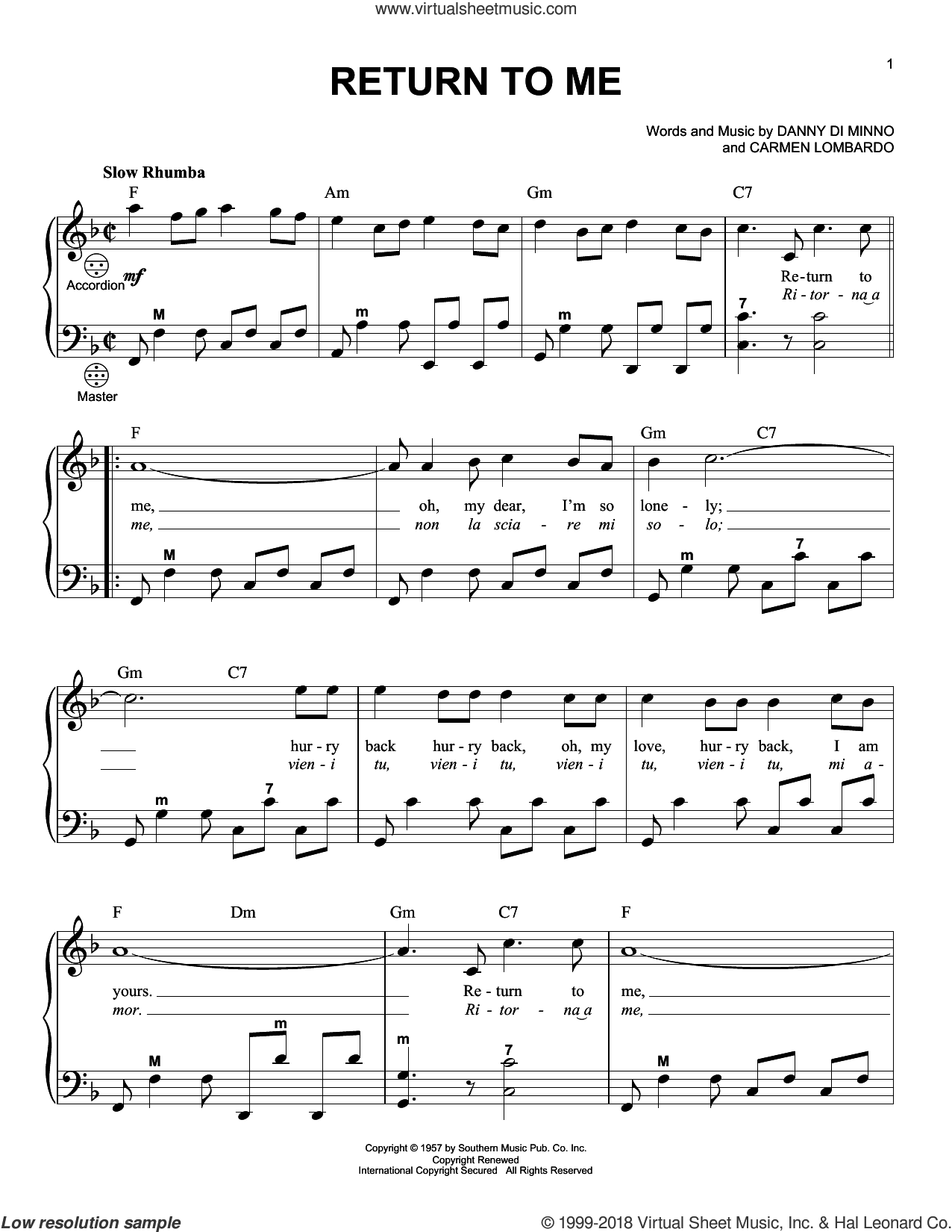 Return To Me sheet music for accordion by Gary Meisner, Carmen Lombardo and Danny Di Minno, intermediate skill level