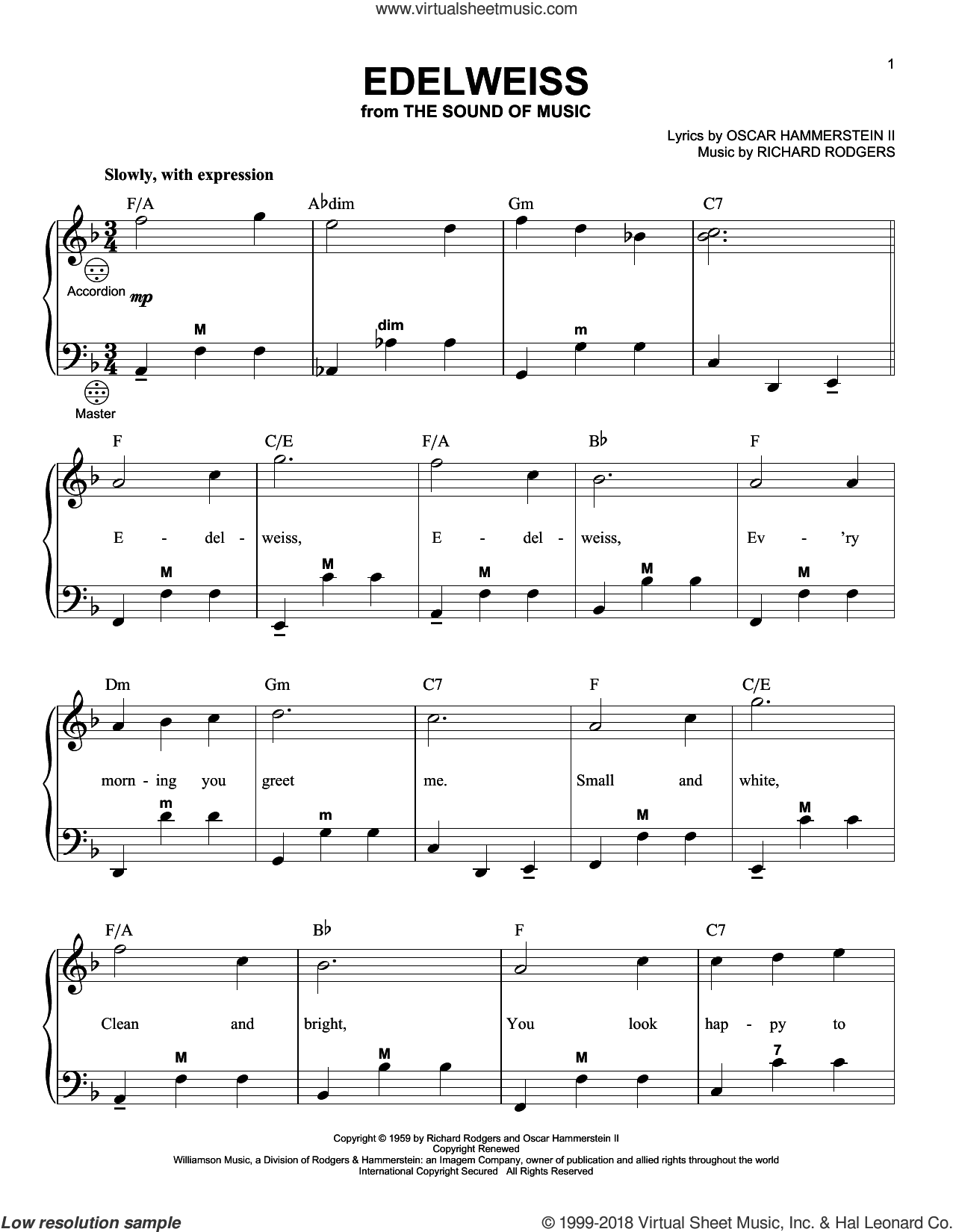 Edelweiss sheet music for accordion by Richard Rodgers, Gary Meisner and Oscar II Hammerstein, intermediate skill level