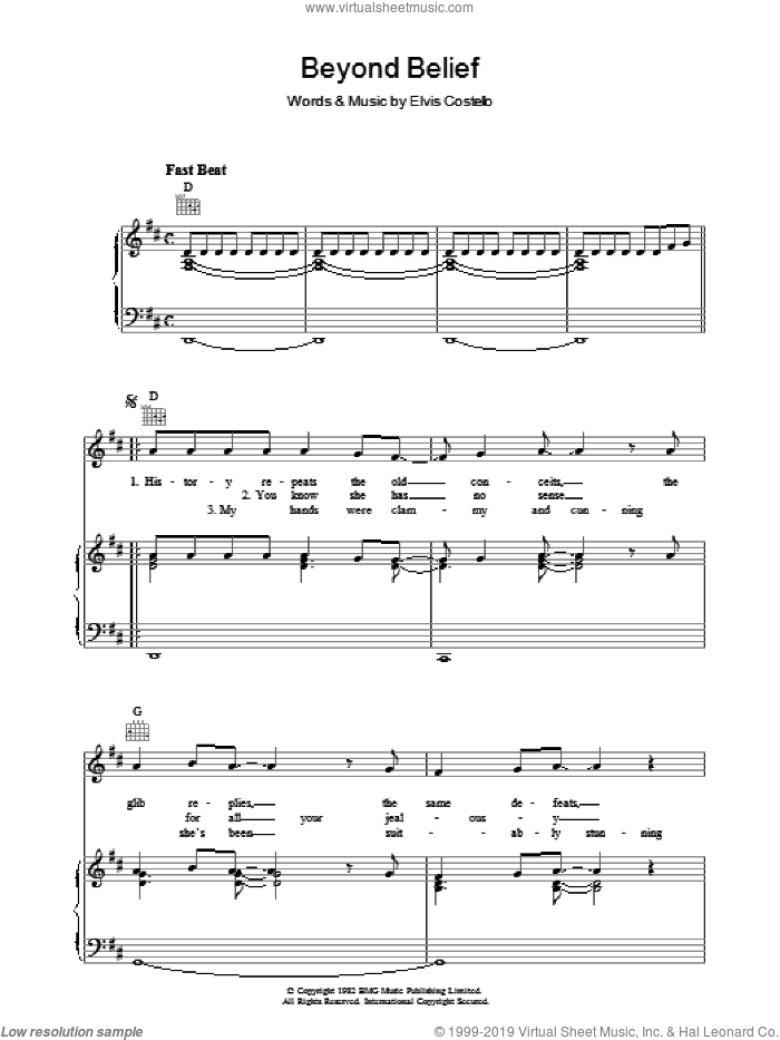 Beyond Belief sheet music for voice, piano or guitar by Declan Macmanus and Elvis Costello. Score Image Preview.