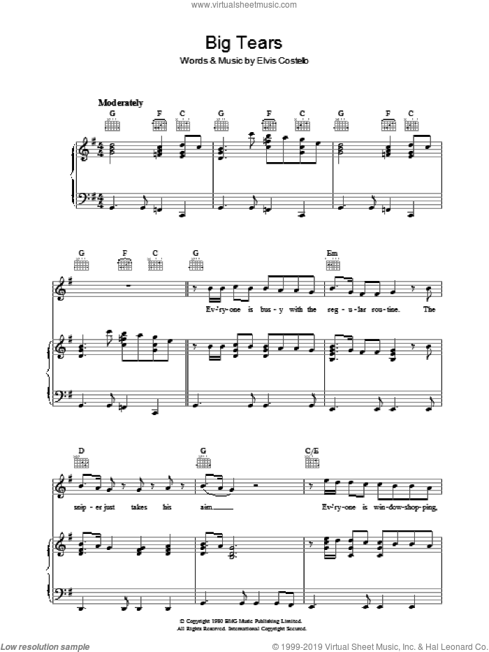 Big Tears sheet music for voice, piano or guitar by Declan Macmanus and Elvis Costello. Score Image Preview.