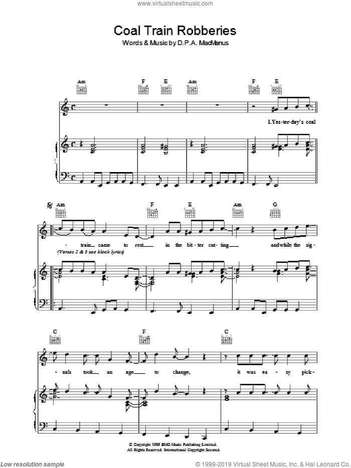 Coal Train Robberies sheet music for voice, piano or guitar by Elvis Costello and Declan Macmanus, intermediate skill level