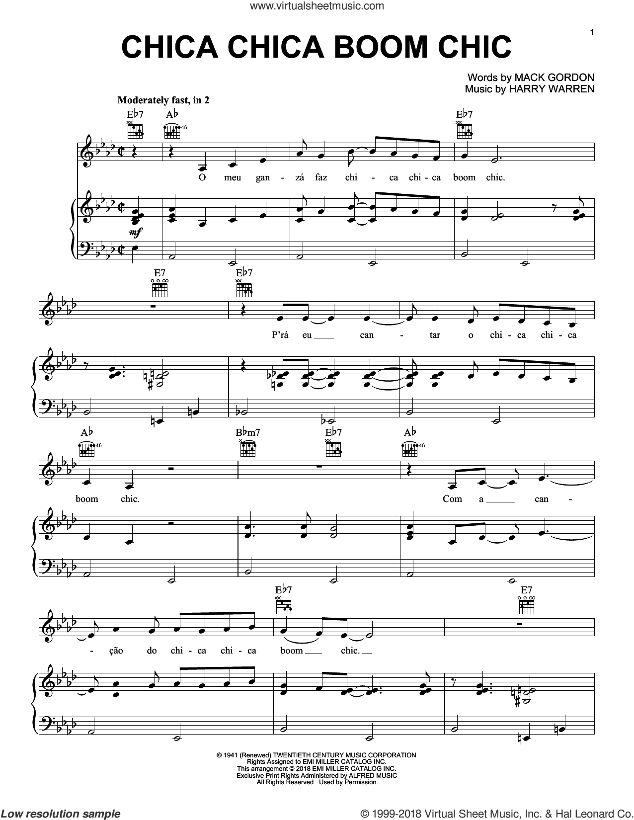 Chica Chica Boom Chic sheet music for voice, piano or guitar by Harry Warren, Alexandre Desplat and Mack Gordon, intermediate skill level
