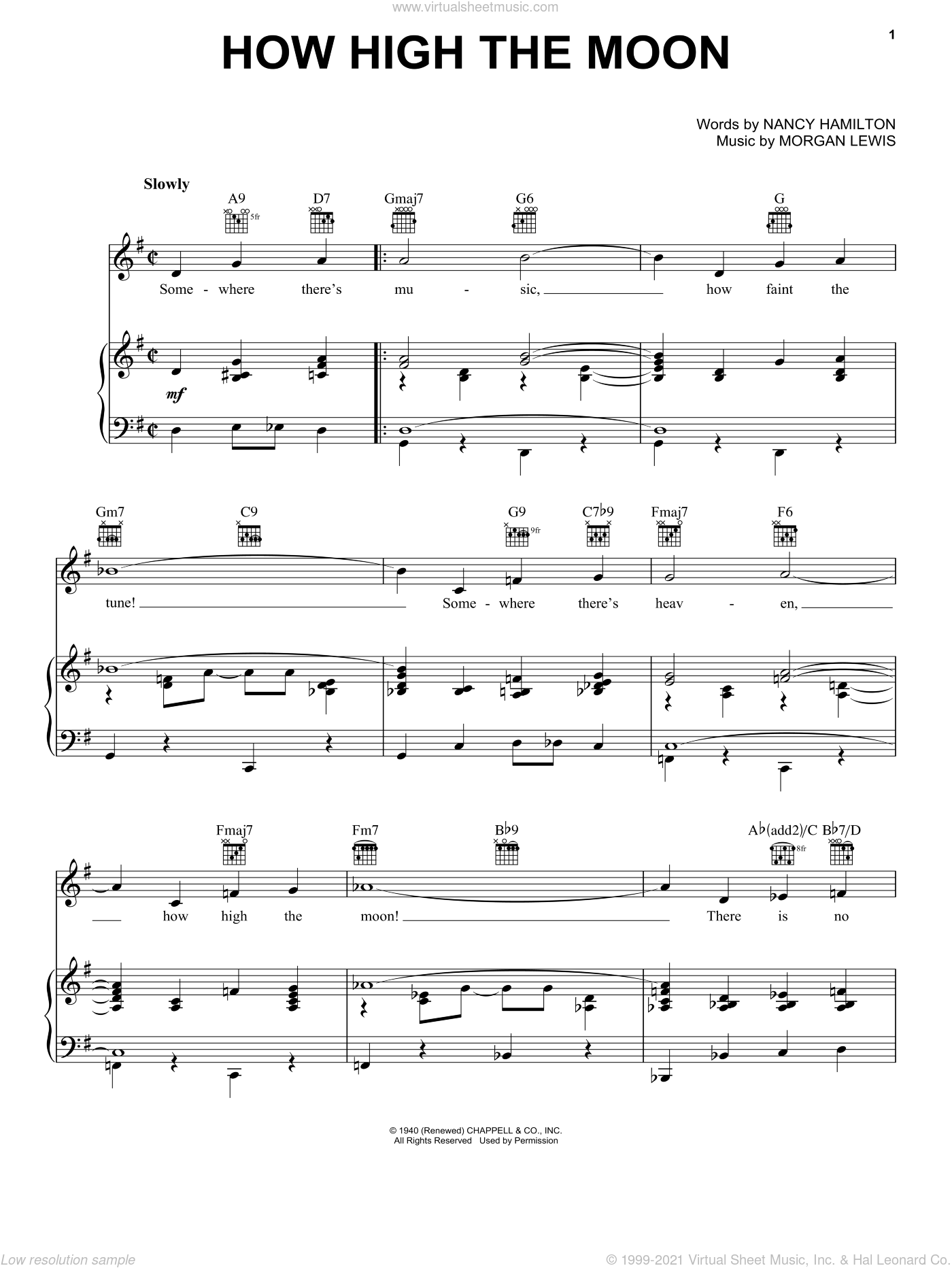 How High The Moon sheet music for voice, piano or guitar by Nancy Hamilton, Les Paul and Morgan Lewis. Score Image Preview.