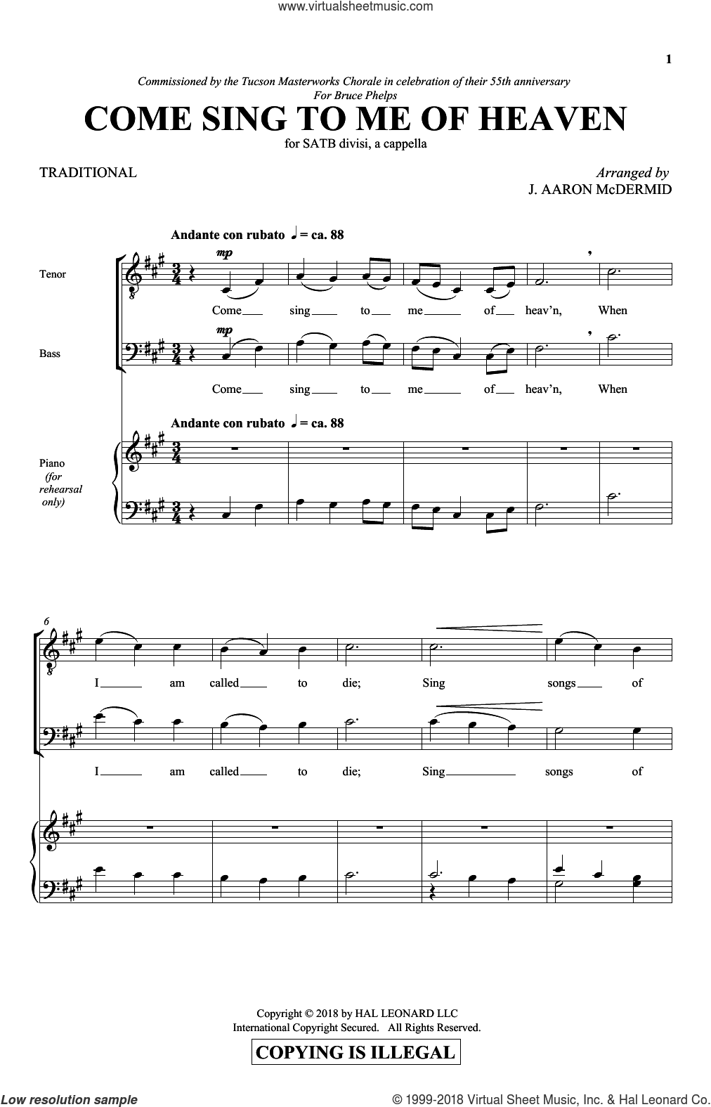 Come Sing To Me Of Heaven sheet music for choir (SATB: soprano, alto, tenor, bass) by J. Aaron McDermid and Miscellaneous, intermediate skill level