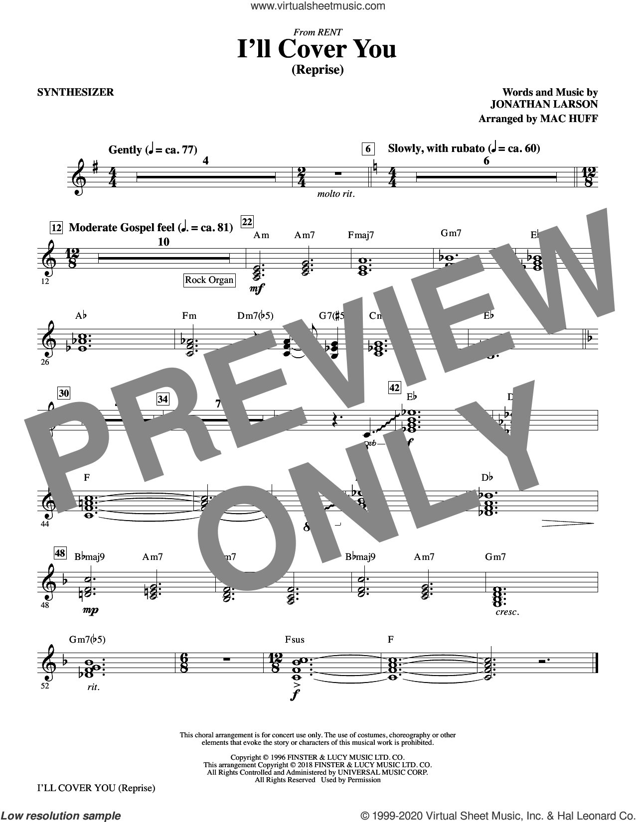 I'll Cover You (Reprise) (complete set of parts) sheet music for orchestra/band by Mac Huff and Jonathan Larson, intermediate skill level