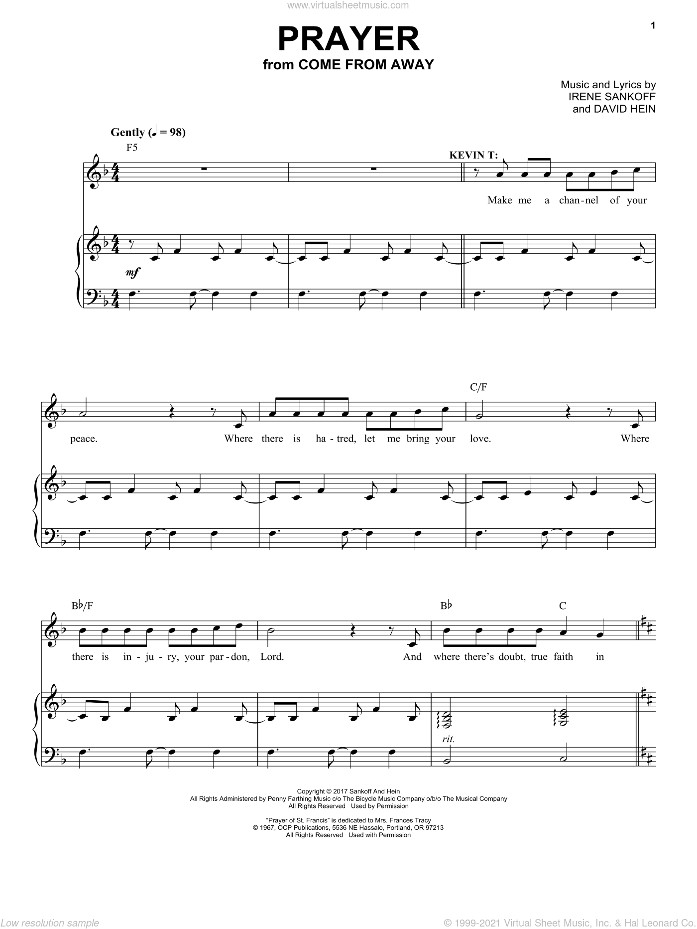 Prayer (from Come from Away) sheet music for voice and piano by Irene Sankoff, David Hein and Irene Sankoff & David Hein, intermediate skill level