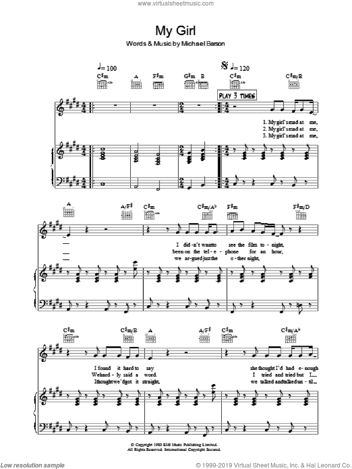 My Girl sheet music for voice, piano or guitar by Michael Barson and Madness. Score Image Preview.