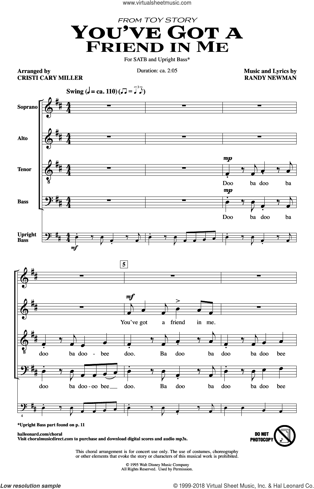 You've Got A Friend In Me (from Toy Story) (arr. Cristi Cary Miller) sheet music for choir (SATB: soprano, alto, tenor, bass) by Randy Newman, Cristi Cary Miller and Lyle Lovett, intermediate skill level