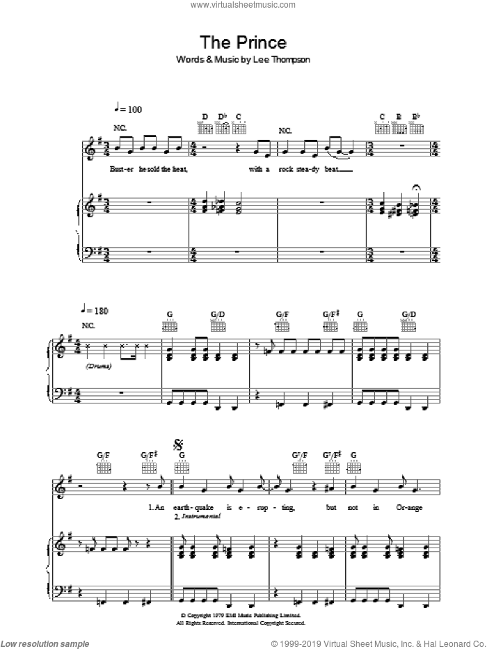 The Prince sheet music for voice, piano or guitar by Madness. Score Image Preview.