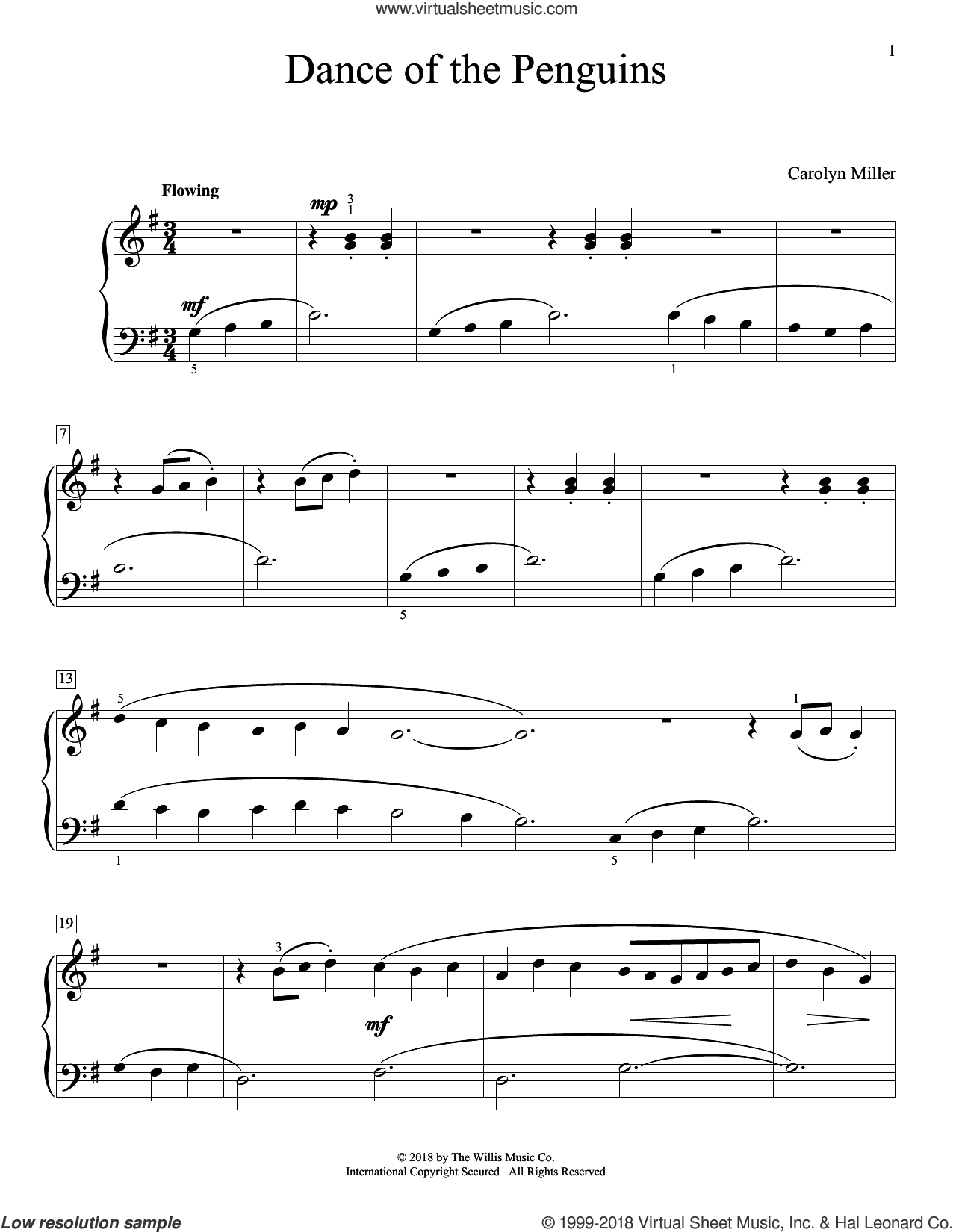 Dance Of The Penguins sheet music for piano solo (elementary) by Carolyn Miller, beginner piano (elementary)
