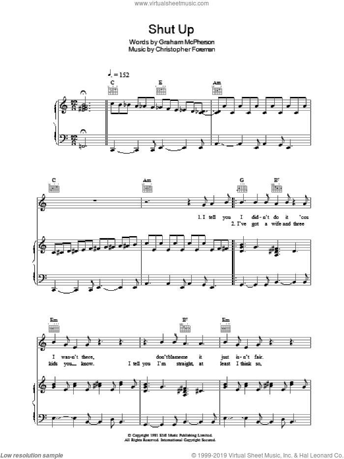 Shut Up sheet music for voice, piano or guitar by Christopher Foreman